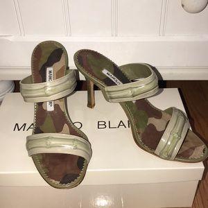 Manolo Blahnik Bamboo Calf Green Leather Sandal